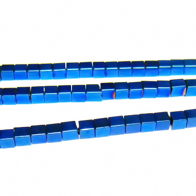 Hematite nemagnetice, albastre, placate, cub 2.3x2.3mm 1 buc