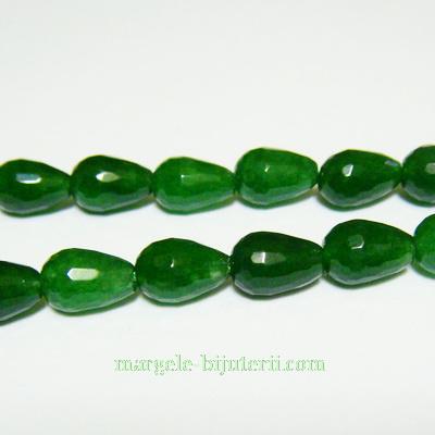 Jad colorat verde, multifete, lacrima 9x6mm 1 buc