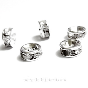 Rhinestone plat, pe baza argintie, transparente, 6x3mm 1 buc