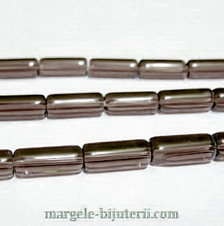 Margele sticla, fumurii, tub 10x4mm 1 buc