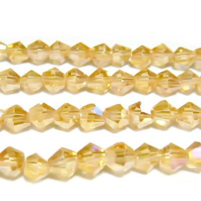 Margele sticla, biconice, aurii AB, 4mm 10 buc
