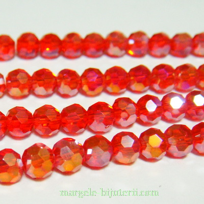Margele sticla, multifete, rosii AB, 4mm 10 buc