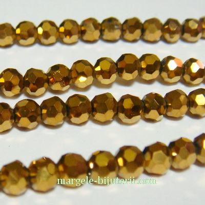 Margele sticla, multifete, aurii, 4mm 10 buc
