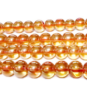 Margele sticla, in 4 fete, aurii AB, 6mm 10 buc