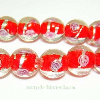 Margele sticla, lampwork, rosii cu floricele roz, 12mm 1 buc
