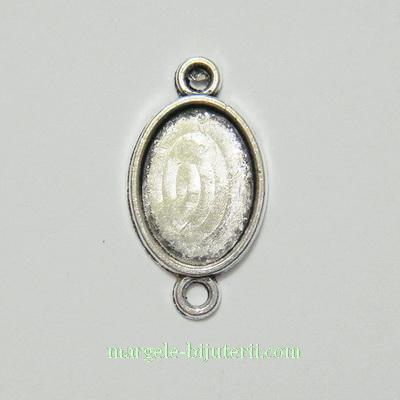 Conector / link cabochon, argint tibetan, interior 14x10mm 1 buc