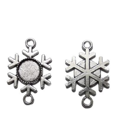 Baza cabochon, argint tibetan, link, fulg de nea, interior 12mm 1 buc