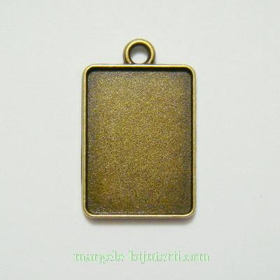 Baza cabochon, bronz, pandantiv, interior 25x18mm 1 buc