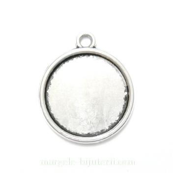 Baza cabochon, argint tibetan, pandantiv 22x19mm, interior 16mm 1 buc