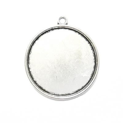 Baza cabochon, argint tibetan, pandantiv 32x28mm, interior 25mm 1 buc