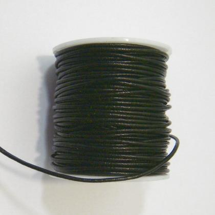 Snur piele naturala, negru,  2mm(vopsea putin decojita) 1 m