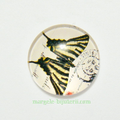 Cabochon sticla, 18x5mm, fluturas 10 1 buc