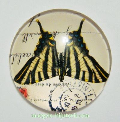 Cabochon sticla, 30x7mm, fluturas 10 1 buc