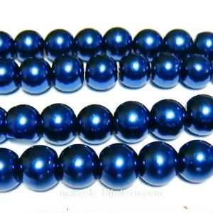 Perle sticla, albastru-cobalt, 10mm 10 buc