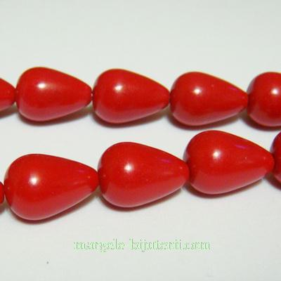 Coral sintetic rosu, lacrima 14x10mm 1 buc
