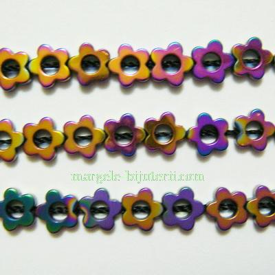 Hematite nemagnetice, vopsite, cu reflexe multicolore, floricele 6x2mm 1 buc