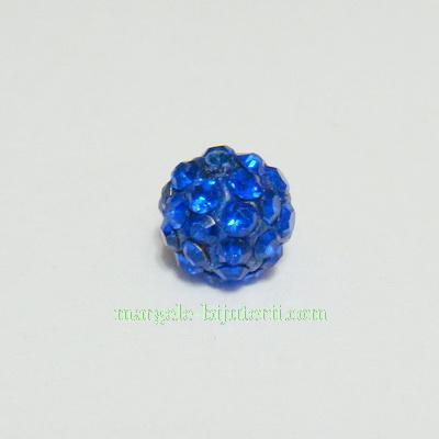 Margele shamballa albastre, 8mm 1 buc