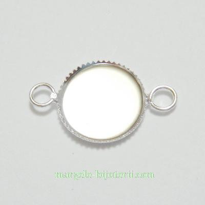 Conector / link cabochon, argintiu, 20x13x1.5mm, interior 12mm 1 buc