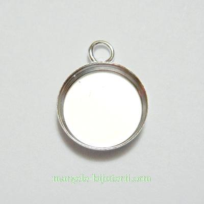 Baza cabochon, argintiu, pandantiv, 17x13x2.6mm, interior 12mm 1 buc