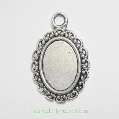 Baza cabochon, argint tibetan, pandantiv, 25x16mm, interior 13x9mm 1 buc
