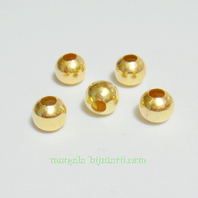 Margele metalice, aurii, 6mm 10 buc