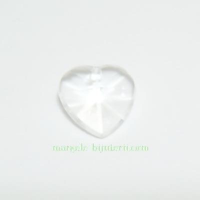 Pandantiv plastic transparent, multifete, inima 14x14x6mm 1 buc