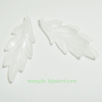 Frunzulite frosted, albe, 43x17x2mm 1 buc
